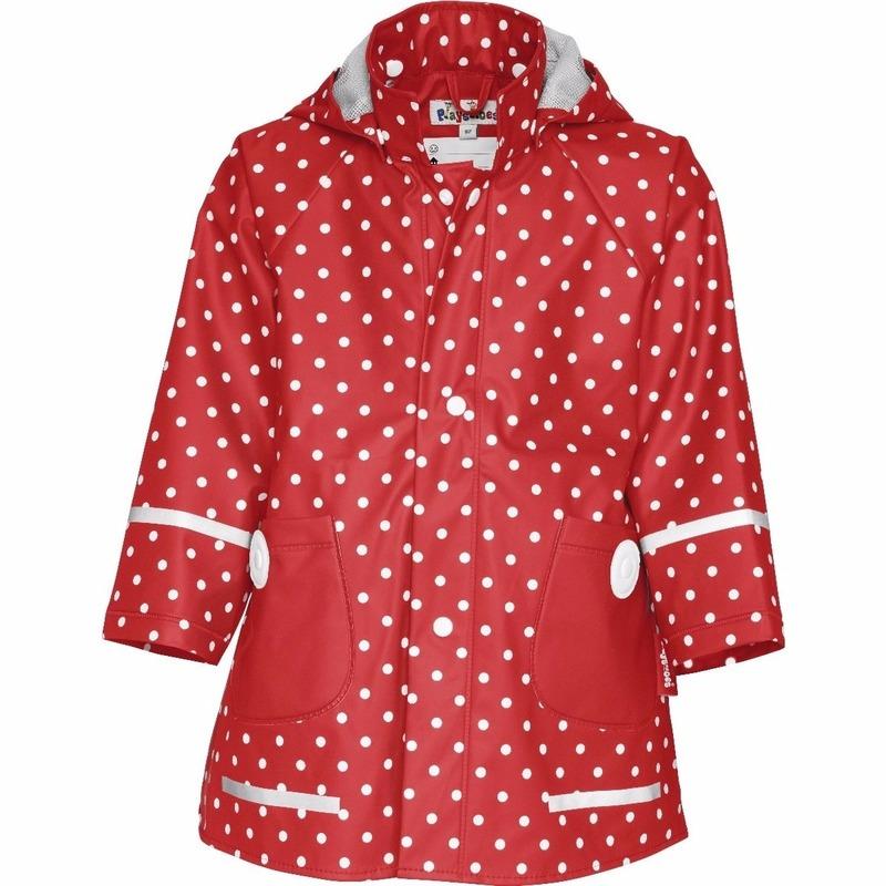 Kinder regenjas rood met witte stip design