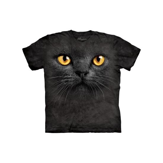 Kinder T shirt zwarte kat met gele ogen