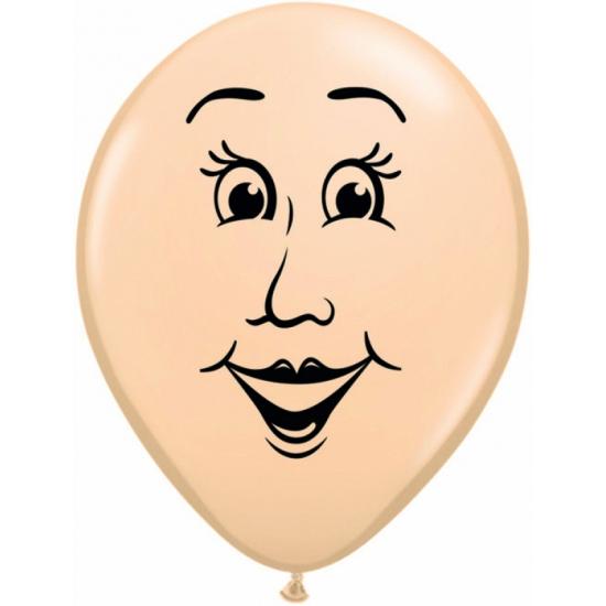 Kleine ballon vrouwen gezicht 13 cm