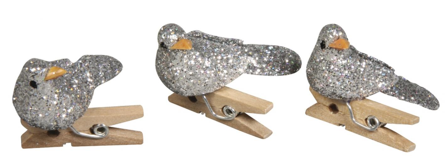 Knijper met zilver vogeltje
