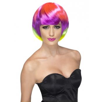 Korte regenboog pruik voor dames
