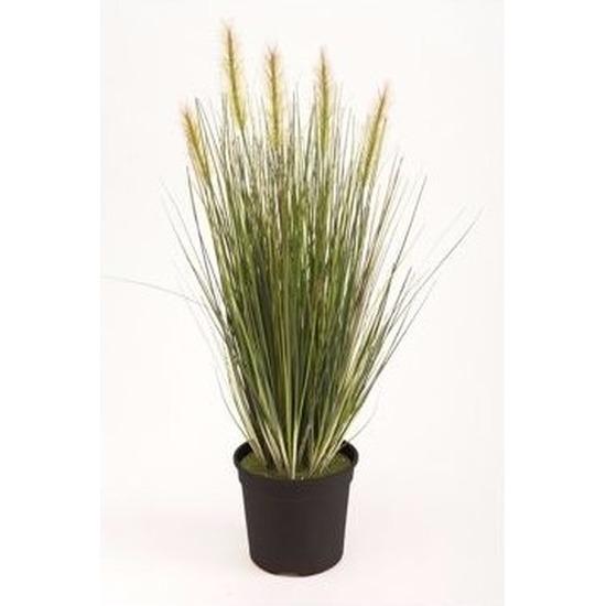 Kunst grasplant 55 cm groen in pot