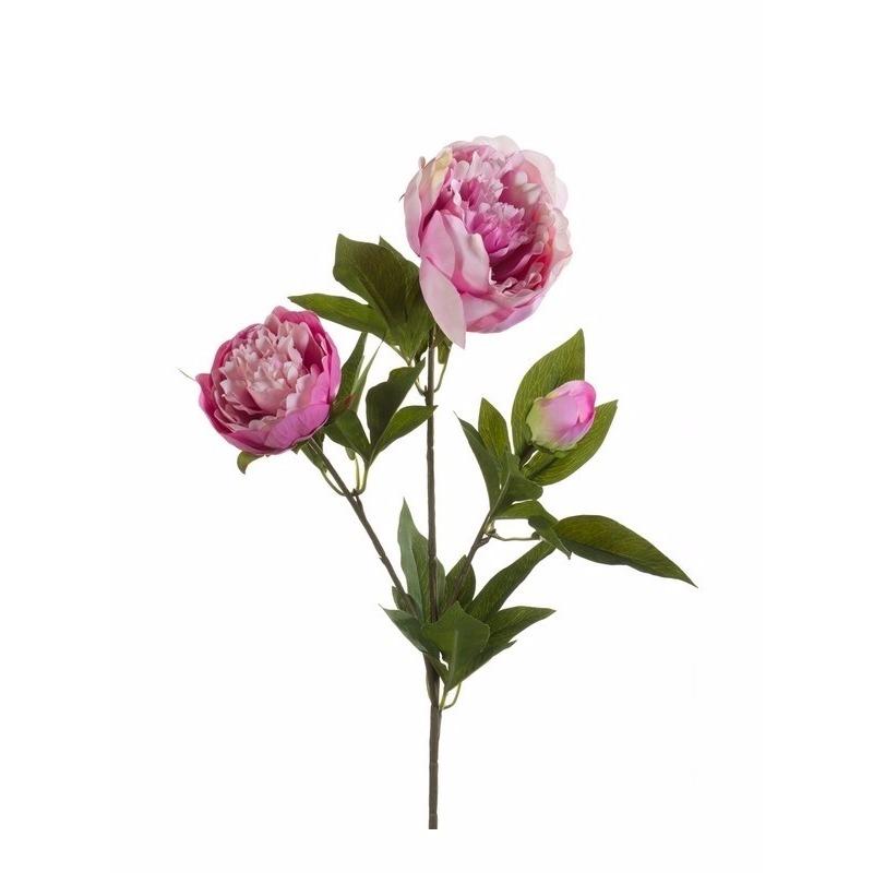 Kunst pioenrozen tak 70 cm roze