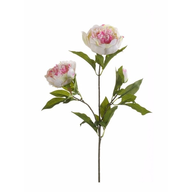 Kunst pioenrozen tak 70 cm wit/roze