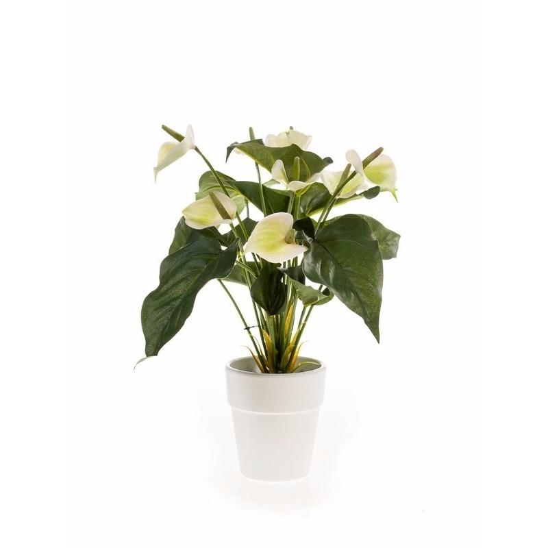Kunstplant Anthurium 47 cm wit