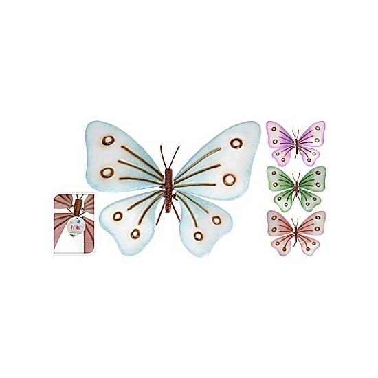 Licht gekleurde metalen vlinder 32 cm