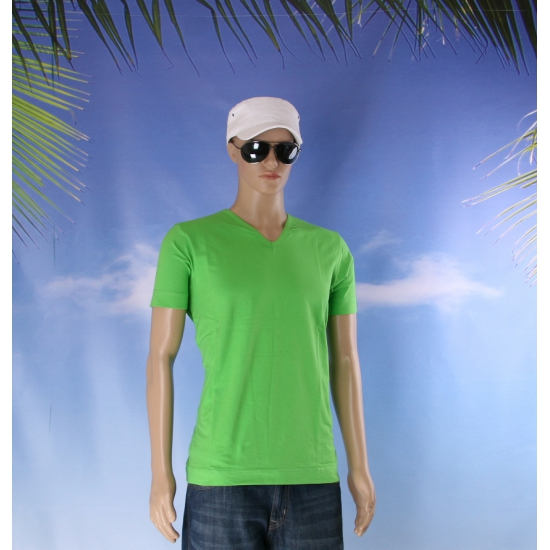 Lime heren t shirt met v hals