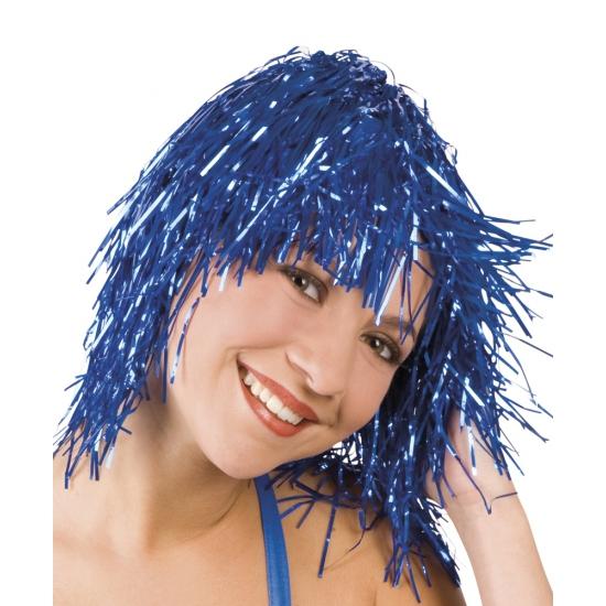 Feest pruik blauw plastic