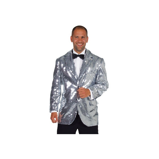 Luxe zilveren bling bling jas