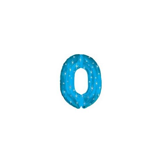 Mega folie ballon cijfer 0 blauw