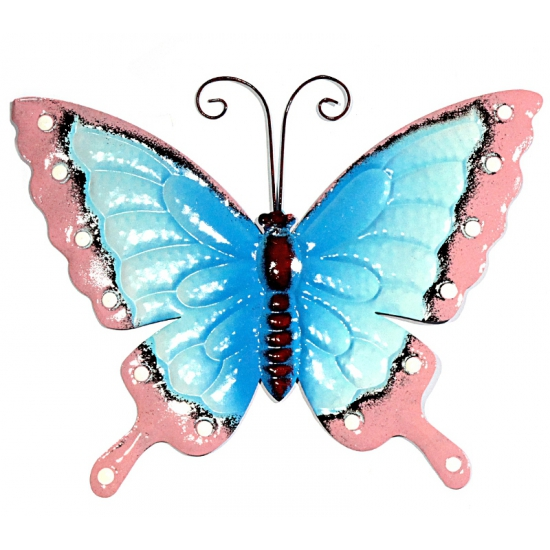 Metalen decoratie vlinder blauw/roze 30 cm