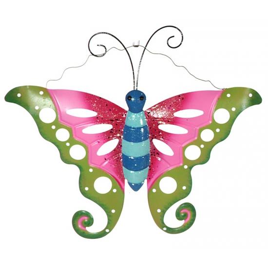 Metalen decoratie vlinder groen/roze 41 cm