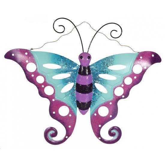 Metalen decoratie vlinder paars/blauw 41 cm
