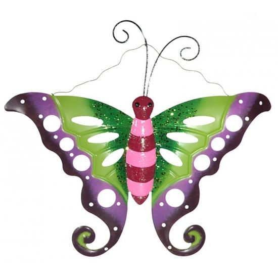 Metalen decoratie vlinder paars/groen 41 cm