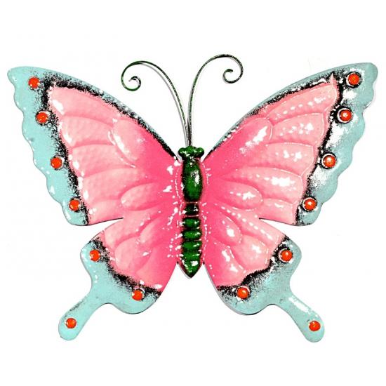 Metalen decoratie vlinder roze/blauw 30 cm