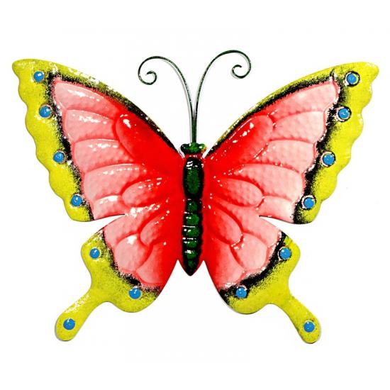 Metalen decoratie vlinder roze/geel 30 cm