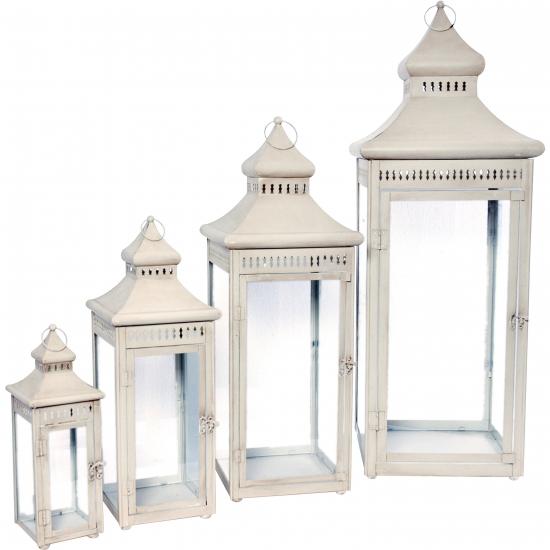 Metalen lantaarn wit 38 cm