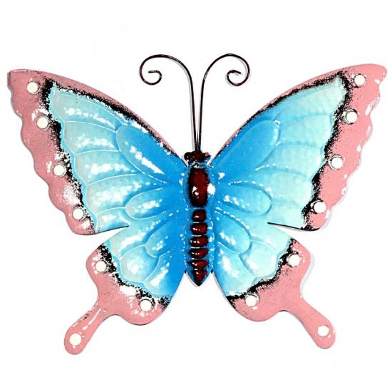 Metalen tuin vlinder blauw/roze 30 cm