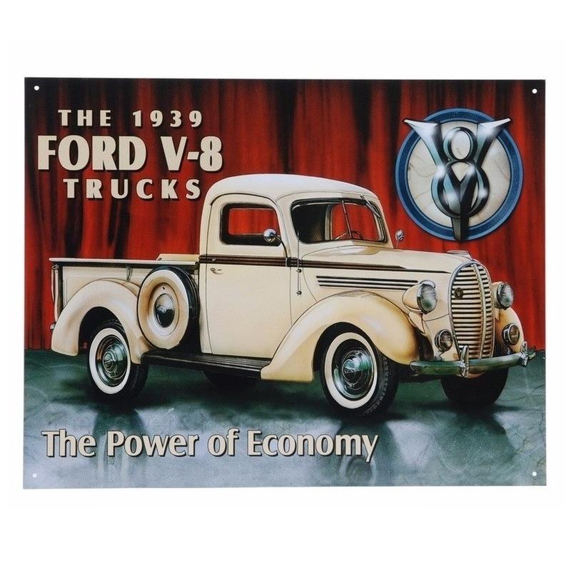 Metalen wandplaat Ford V 8 32 x 41 cm
