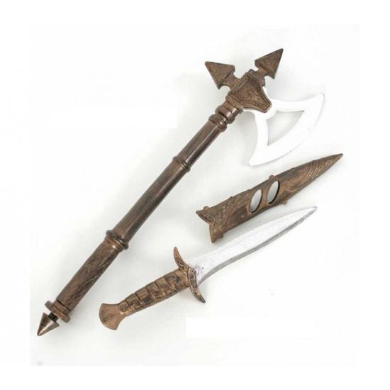 Middeleeuwse bijl en zwaard