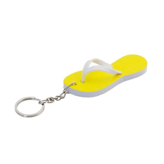 Mini sleutelhanger gele teenslipper 8 cm