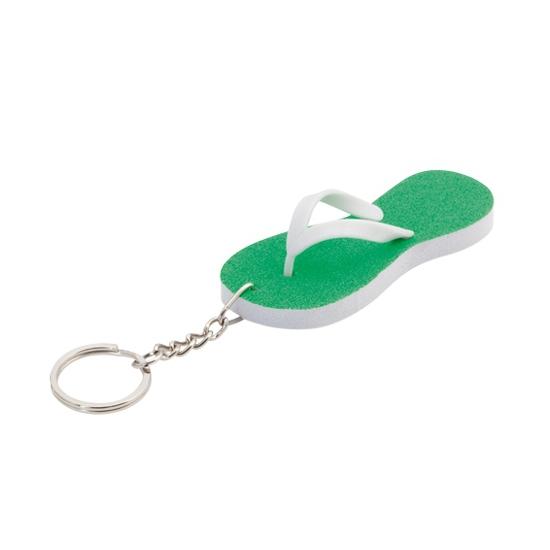Mini sleutelhanger groene teenslipper 8 cm