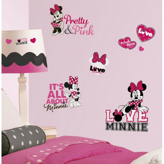 Minnie Mouse roze muur stickers