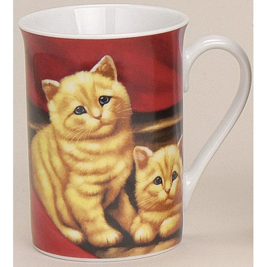Mok met lieve katten rood 10 cm