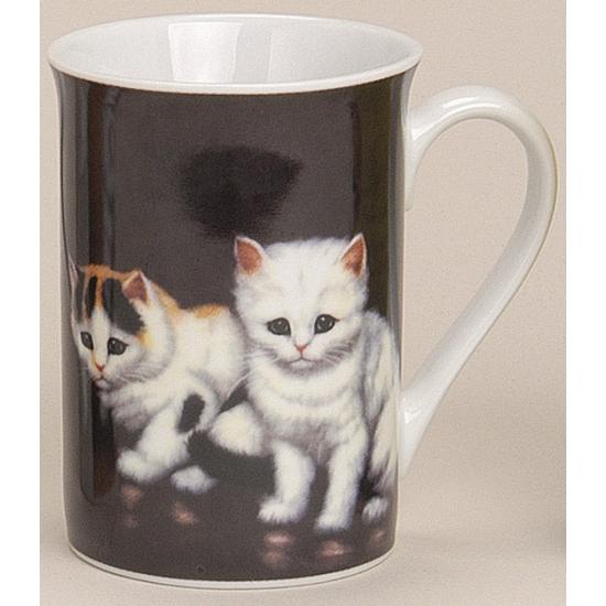 Mok met lieve katten zwart 10 cm