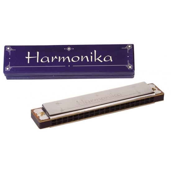 Mondharmonica in houten doosje