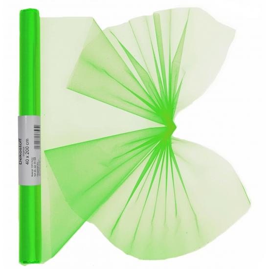 Neon groene organza op rol 40 x 200 cm
