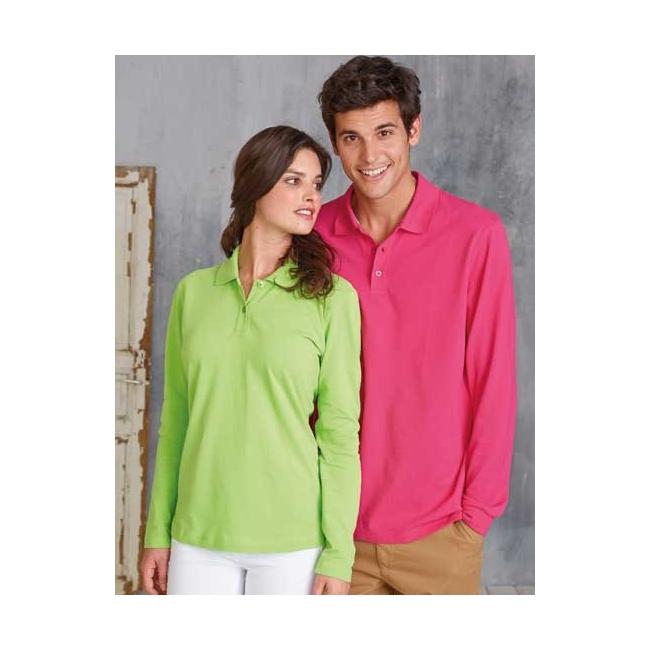 Neon kleur polo met lange mouwen
