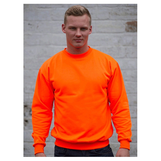 Neon oranje sweater voor heren Just Hoods