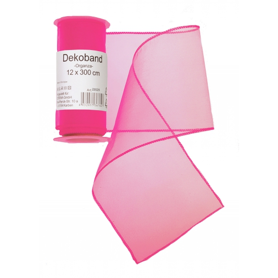 Neon roze organza stof op rol 12 x 300 cm