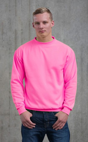Neon roze sweater voor heren Just Hoods