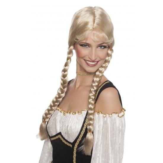 Bierfeest damespruik blond vlechten