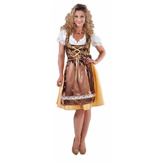 Oktoberfest Luxe gouden dirndl met edelweiss knopen