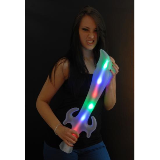 Opblaasbaar zwaard met LED licht 65 cm