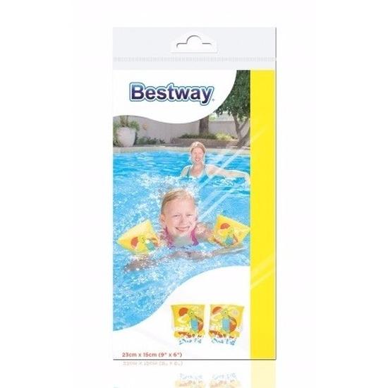 Opblaasbare zwembandjes schildpad geel voor kinderen