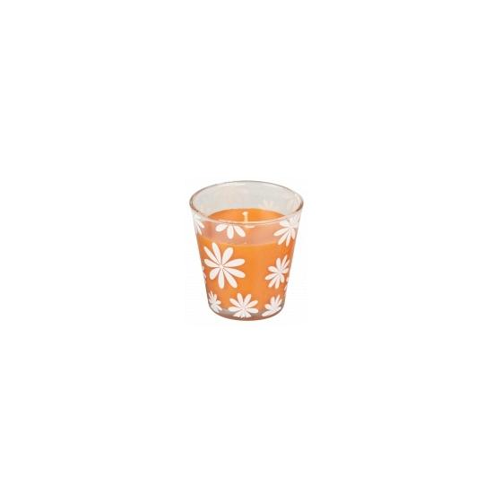 Oranje citronella geurkaars 8 cm
