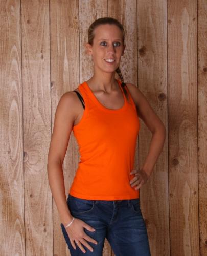 Dames t shirt oranje mouwloos