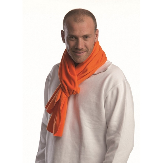 Warme fleece sjaal oranje