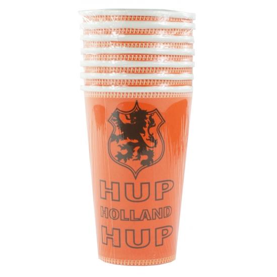 Oranje Holland bekers groot 8 stuks