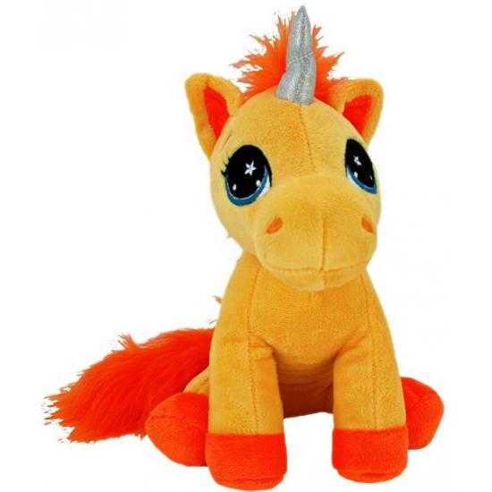 Oranje knuffel eenhoorn 22 cm