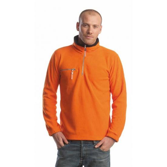 Oranje met zwarte fleece trui voor volwassenen
