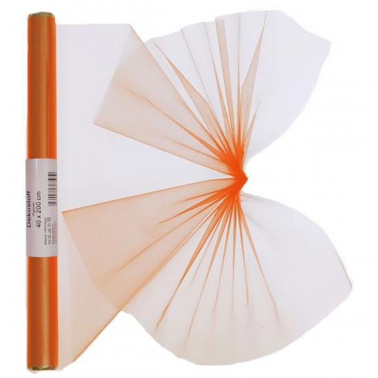 Oranje organza stof op rol 40 x 200 cm