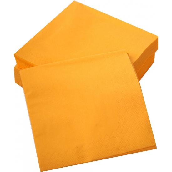Oranje decoratie servetten aantal 50