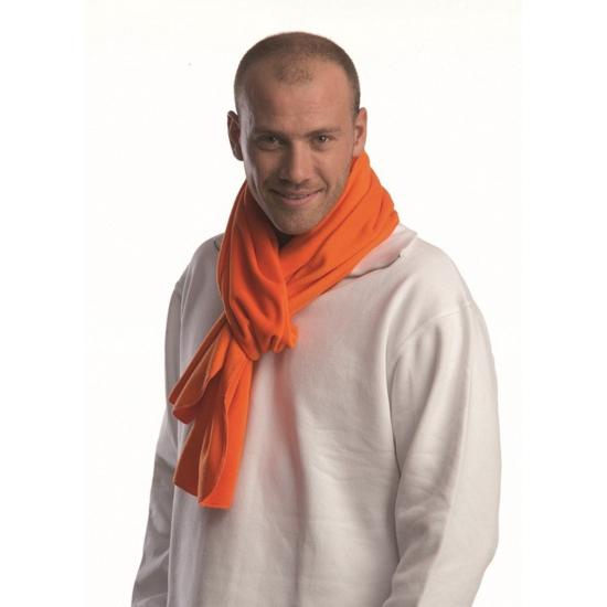 Oranje sjaal van fleece materiaal