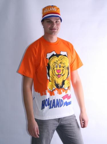 Leeuw t shirt oranje volwassenen