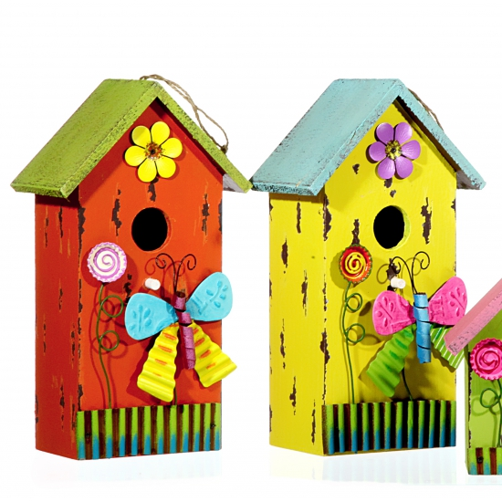 Oranje vogelhuis van hout met vlinder 30 cm